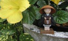 Moine et hibiscus au temple zen de La Gendronnière